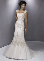 Glamourous White A-line Strapless Corset Closure Floor-length Wedding Dress With Beads