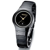 AESOP Luxury CZ Diamond Women Dress Rhinestone Watches Fashion Black Ceramic Quartz Watch 2014 New Waterproof Wristwatch 9901