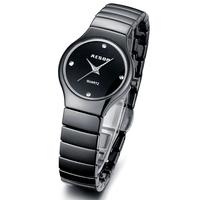 Aesop Luxury CZ Diamond Women Dress Rhinestone Watches Ceramic Bracelet Steel Case Men's Wristwatch Fashion Quartz Watch 9918