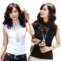 Free Shipping summer&autumn new style lady lace hollow out embroidery sleeveless T-shirt slim turtleneck lace shirt