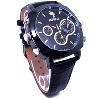 Waterproof  secret camera 4G/8G/16G Watch Camera DVR Video  hidden camera leather strap black