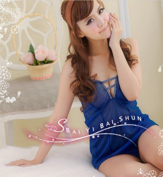 Free shipping wholesale womens costumes sex blue adult costume with Gstring(China (Mainland))