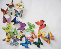 NEW 100PC MIXED 7CM WEDDING/HOME DECORATION 3D INSECTS BUTTERFLY wholesale /retail FREE SHIPPING