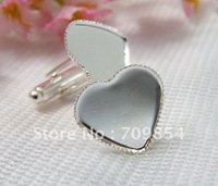free shipping!!! 50pcs/lot Brand New 16mm pad sterling silver plated cufflinks Love heart cufflinks jewelry findings