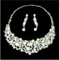 Bridal Jewelry Set Pearl Rhinestone Set Necklace Earrings wedding dress with jewelry