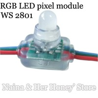 100pcs/lot DC5V input 50pcs a string RGB full LED pixel module (WS 2801 IC)