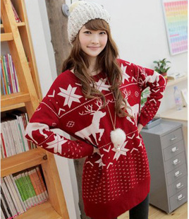 Onta pattern christmas plush ball sweater