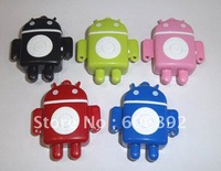 New arrival 5pcs/lot New mini Mp3 player robot style without screen Support Micro TF card Free & Drop Shipping