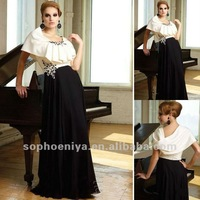 Best Selling Black and White Satin Crystal Long Evening Dresses for Pregnant Women