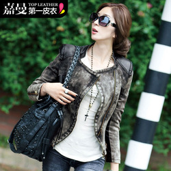 Free Shipping! 2013 Autumn Korean Style Fashion Women&#39;s Street Slim Zipper Retro Finishing Leather Patchwork Denim Coat B06727#(China (Mainland))