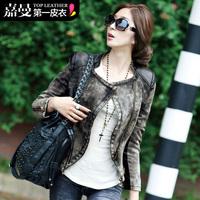 Free Shipping! 2014 Autumn Korean Style Fashion Women's Street Slim Zipper Retro Finishing Leather Patchwork Denim Coat B06727#