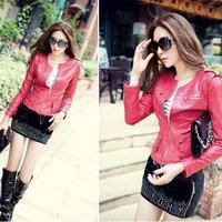 Free Shipping! 2014 Autumn New Arrival Women Epaulette Motorcycle Short PU Leather Rose,Orange,Black Jackets And Coats B06730#