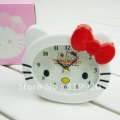 Free shipping 2pcs/lot  pick red color  Hello kitty Alarm clock,cartoon gifts desk clock