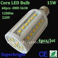 4pcs/lot corn led bulb light 15W white 60pcs-SMD 5630 led 1200lm 220V energy saving ROHS CE home light Free shipping