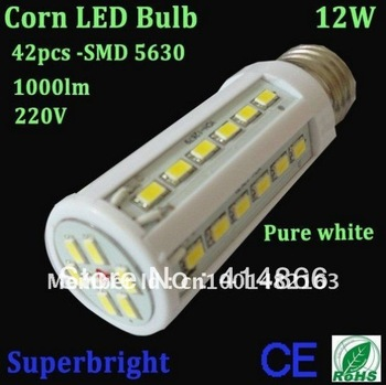 4pcs/lot 12W corn led bulb light 42leds SMD 5630 led 1000lm 220V energy saving ROHS CE indoor lampFree shipping