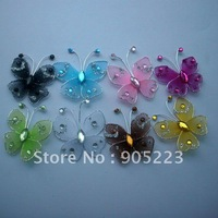 Free shipping Wedding Decoration 3cm 50pc Nylon  Butterfly  new wholesale /retail Mixed Color or U Pick