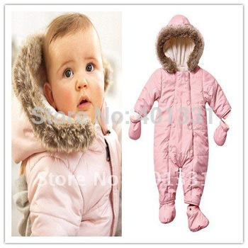 2014  winter thickening baby romper baby coat bear style cute baby winter romper