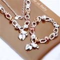Top Fashion 925 Sterling Silver jewelry Gold plated   for woman   Heart Necklace and  Bracelet  Silver Set  S026