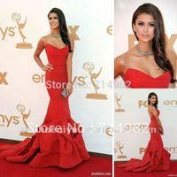 2014 Latest Mermaid Strapless Chapel Train Taffeta Fashion Red Carpet Evening Dresses