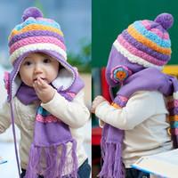 Wholesale 5pcs/lot Child hat + scarf set child ear protector cap gorro knitting yarn ball Pineapple flower hat 5colors