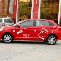 DIY Car stying Automotive vehicle stickers cartoon body car stickers Hello Kitty  bowknot garland,Car modification