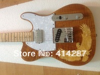 customize free shipping telecaster electric guitar highest quality flame maple neck with body