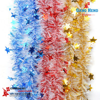 Christmas decoration supplies 2 meters 9cm wire large five-star striped multi-color 10g