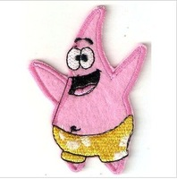Hot selling embroidered badges/fabric sticker/embroidered patch/cute spongebob badge free shipping