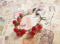 Popular trendy bracelet,Free shipping, 2012 fashion Sweet little cherry bracelet