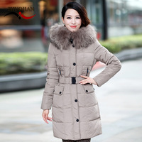 2012 medium-long down coat female slim raccoon large fur collar