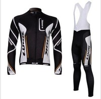 black look cycling  clothing Bicycle Long Sleeve  Jersey + bibs  pants suit