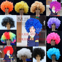 Photography props ball clown . big kinkiness , fans wig Large explosion head multicolor