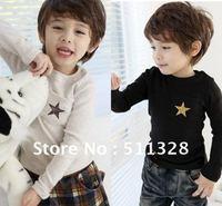 FREE SHIPPING  Children clothing boy T shirt cotton  fashion Winter thicking star T shirt