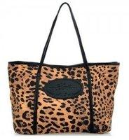 Leopard Canvas Ladies handbag  2014 new style Hot sale Free shipping  Black shoulder strap ,Brown shoulder strap