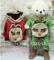 Hot! Retail!4-colours Kids girl warmer hoodies clothing sets,Children Winter lovely bear clothes set ,free shipping  TZ1120