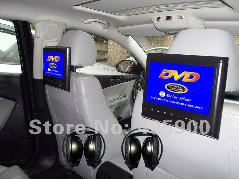 DIY Install NEW 9 inch Active HD Headrest Car DVD player with 32bit Games+USB+SD+IR/FM transmitter+Bracket, 2 IR Headphones(China (Mainland))