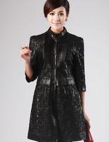 On sale Women's Black Genuine Sheepskin Leather Long Coat Jacket M-4XL Plus Size  Top Quality Wholesale Retail OEM FS9156084