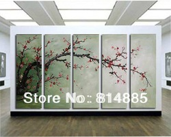 The Plum Blossom, Huge 5 Panels Handmade Modern Flower Oil Painting on Canvas Wall Art ,Top Home Decoration JYJLV208(China (Mainland))