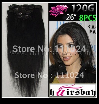 "26"" Great Length Long Straight Remy Clip In Human Hair Extensions 120g/Set China Whole Sale and Retail Factory Price"