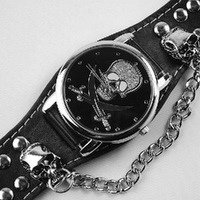 901748-SC-250 Punk Gothic Ladies Women Men Gens Genuine Leather Wrist Watch Free shipping