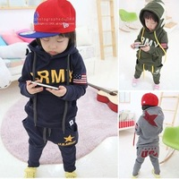 SY-208,5 sets/lot hot sale baby flag clothes set korea styles boy/girl sports suit (hoodies+pants) 2pcs kids garment wholesale