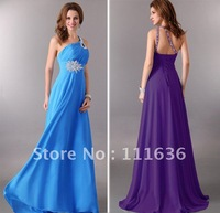 Коктейльное платье 1pcs/lot One shoulder Knee Length Cocktail Dresses Short, Wedding Bridesmaid Strapless Party Dress, Chiffon CL3185