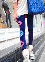 Free shipping  ladies' / fashion multicolor lip Print  slim thin leggings