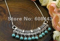 NR100 Turquoise Stone Pendant Sweater Tibet Silver vintage Fashion necklace chain Jewelry Jewellery Bijouterie for Women Girl's