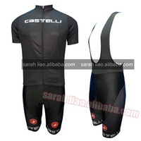 Wholesale 2012 Castelli  Black Short Sleeve Cycling Jersey and BIB shorts / bicycle clothing  Custom and dropshipping