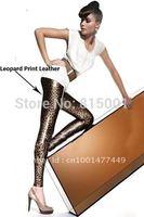 2014 HOT! High Quality Leather Leggings Women Leopard Print Faux Leggings Sexy Pants LB13135 (S M L& XL Size)Free Shipping