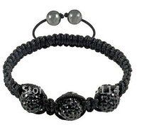 12pcs/lot 10mm ball black colour Fashion stretch shamballa bracelets.shamballa crystal ball bracelet free shipping B0086