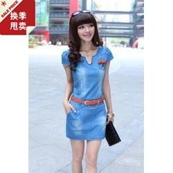 denim belt gradient casual dress cocktail dresses for women high end taobao vestidos free shipping casuals z in peas(China (Mainland))