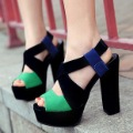 2012 spring and summer all-match fashion women&#39;s shoes velvet thick heel platform open toe high-heeled sandals high-heeled shoes