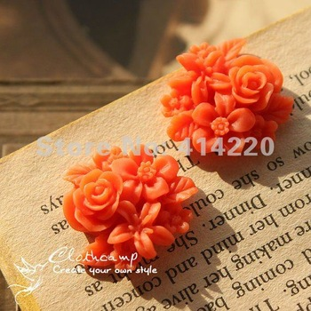 2012 new style Free shipping 25mm 15 Colors Resin Flower Cabochon Flat back Jewelry Accessorie by 100PCS/LOT